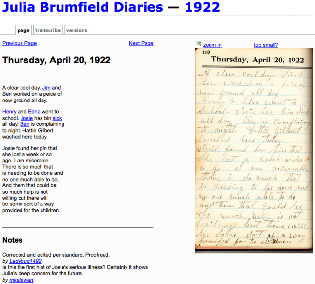 Screen shot of Brumfield diary in FTP system