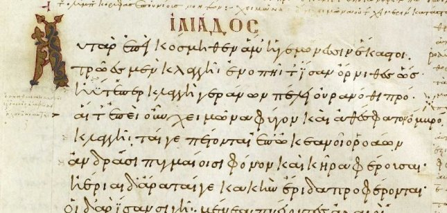 Detail from the Venetus A manuscript, showing Iliad 3.1-9