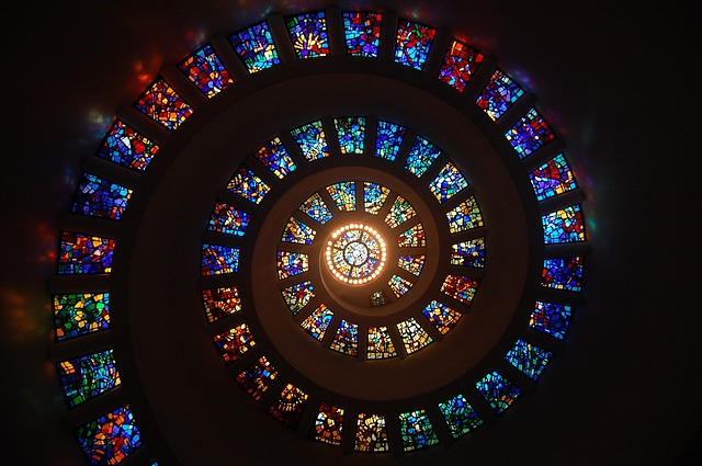 Stained glass window spiral