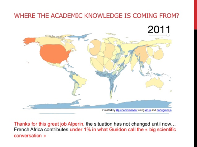 Graphic of which countries academic knowledge comes from