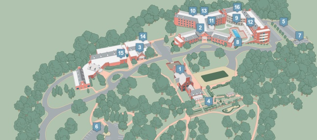 Overview of Rizzo Center grounds and buildings