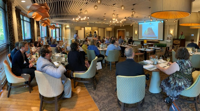 Photo of Tom Scheinfeldt helping us think about how to use the opportunities and constraints of a retreat to develop our ideas over the next few days
