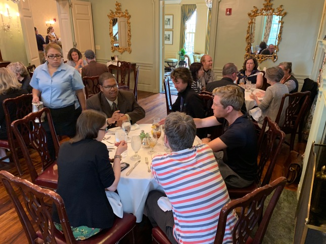 Photo of group having lunch at the Dubose House