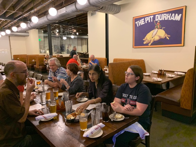 Photo of group eating NC BBQ at The Pit in Durham