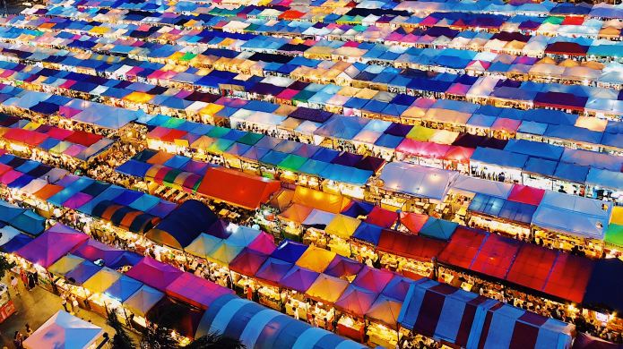 Aerial view of market in Bangkok